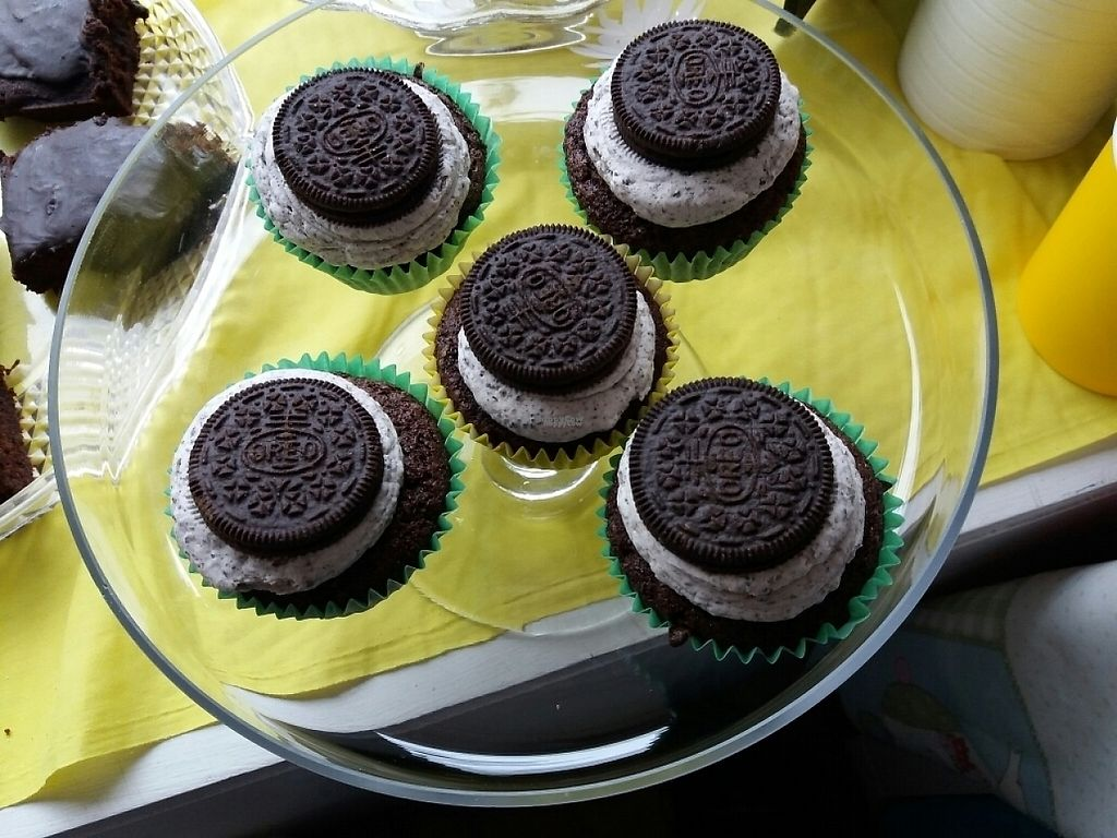 """Photo of The Pie Parlour & Bakery  by <a href=""""/members/profile/Thepieparlour"""">Thepieparlour</a> <br/>vegan Oreo cupcakes <br/> April 8, 2017  - <a href='/contact/abuse/image/80742/245841'>Report</a>"""