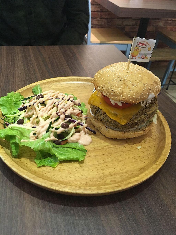 "Photo of Tofunia  by <a href=""/members/profile/Npczski"">Npczski</a> <br/>Mushroom lentil burger and tofunia salad  <br/> January 2, 2018  - <a href='/contact/abuse/image/80747/341953'>Report</a>"