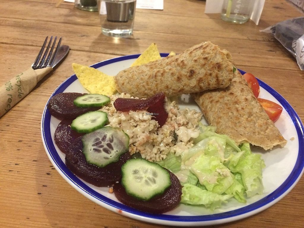 """Photo of The Button Warehouse  by <a href=""""/members/profile/Hoggy"""">Hoggy</a> <br/>Harissa tofu in homemade Staffordshire oatcake, with tabouleh and mixed salad <br/> June 19, 2017  - <a href='/contact/abuse/image/80752/271160'>Report</a>"""
