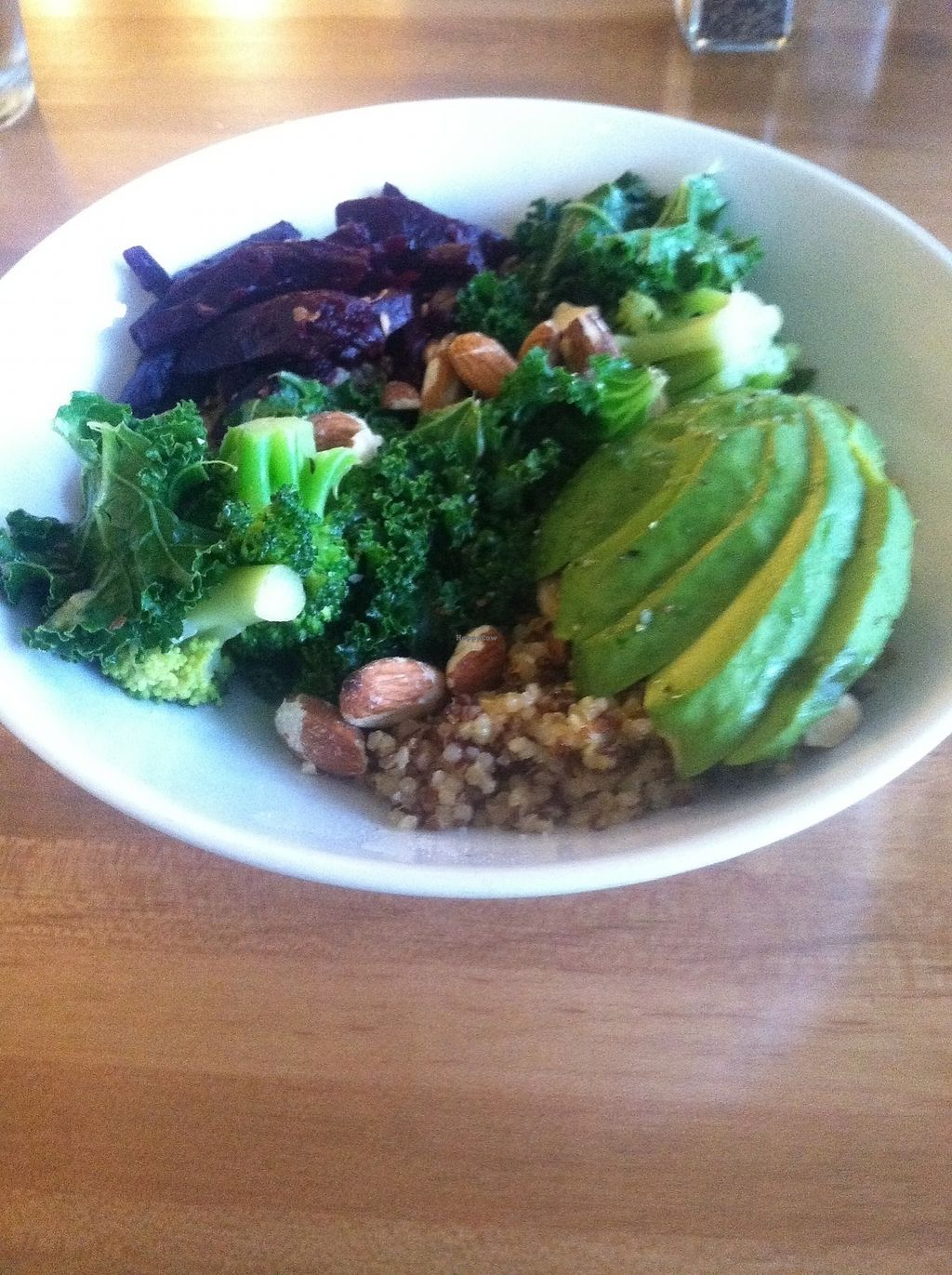 """Photo of Enjoy Pure Food + Drink  by <a href=""""/members/profile/KateKC"""">KateKC</a> <br/>Take on the World Bowl - Quinoa, avocado, kale, broccoli, shredded beets, almonds, hemp seeds, ginger-miso dressing <br/> March 4, 2018  - <a href='/contact/abuse/image/80758/366444'>Report</a>"""