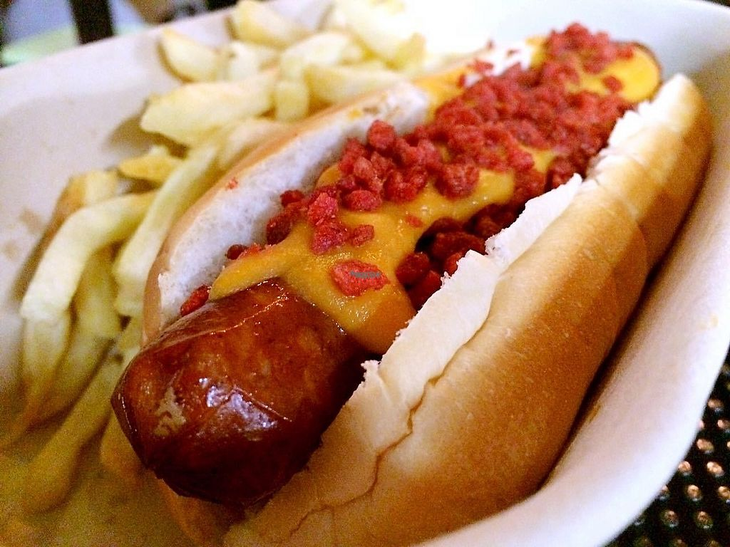 """Photo of Yard House - maybe closed  by <a href=""""/members/profile/jjkob"""">jjkob</a> <br/>Baconator Dog (100% vegan)! <br/> January 4, 2017  - <a href='/contact/abuse/image/80760/207860'>Report</a>"""