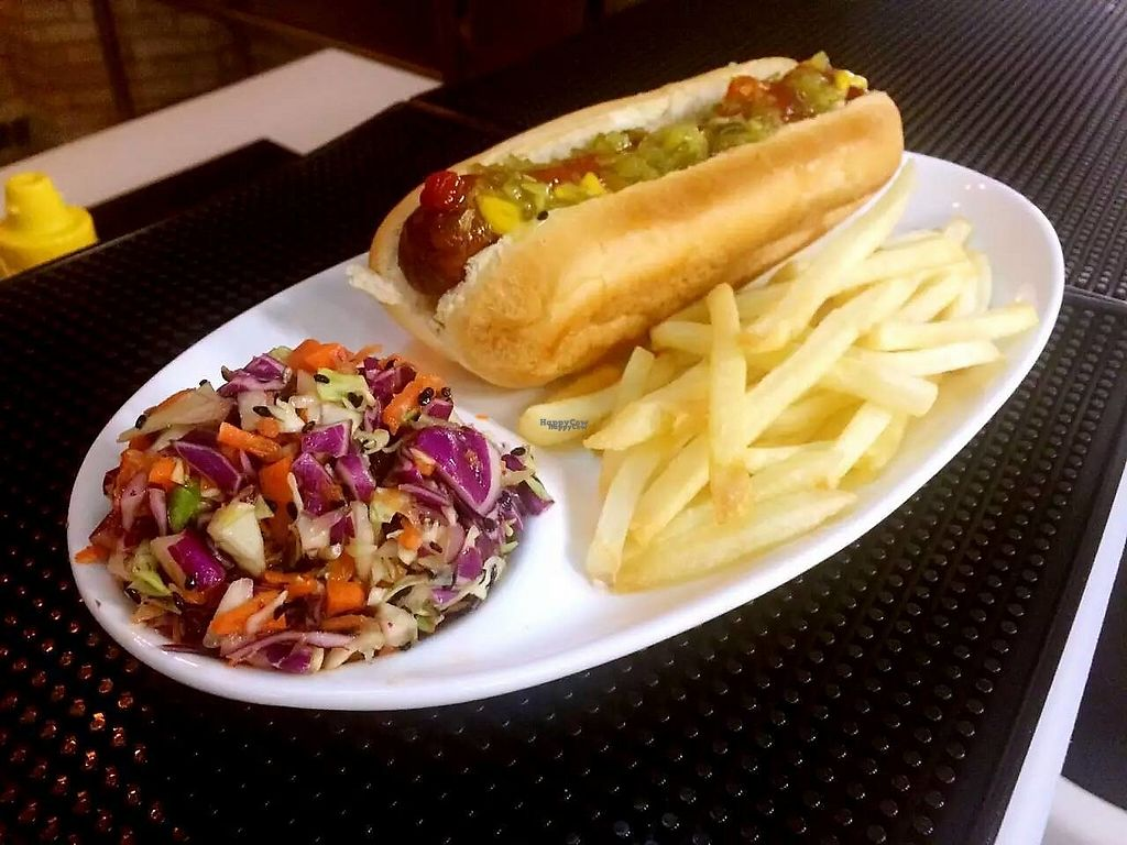 """Photo of Yard House - maybe closed  by <a href=""""/members/profile/jjkob"""">jjkob</a> <br/>Hot Dog (100% vegan) with air fries and vegan coleslaw <br/> January 4, 2017  - <a href='/contact/abuse/image/80760/207861'>Report</a>"""