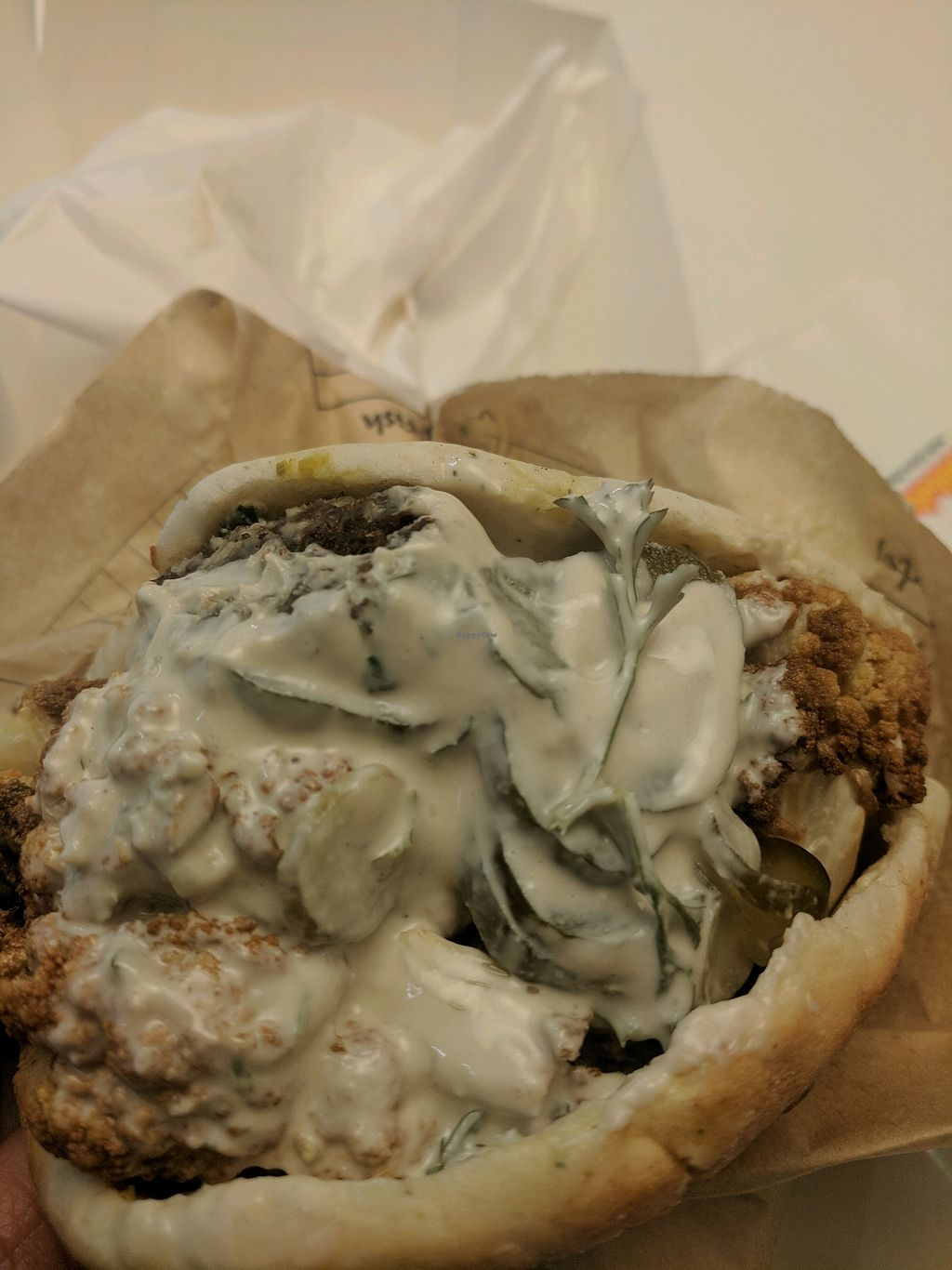 """Photo of Sabbaba  by <a href=""""/members/profile/Guacamole"""">Guacamole</a> <br/>Cauliflower and falafel pita <br/> December 21, 2017  - <a href='/contact/abuse/image/80766/337761'>Report</a>"""