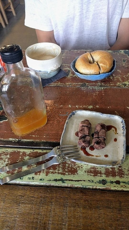 """Photo of Pantree  by <a href=""""/members/profile/HannahGilbert"""">HannahGilbert</a> <br/>raisin kefir, soya coffee, raw brownie and a bagel. all delicious. one of the best coffee we've ever tasted!  <br/> June 13, 2017  - <a href='/contact/abuse/image/80767/268747'>Report</a>"""