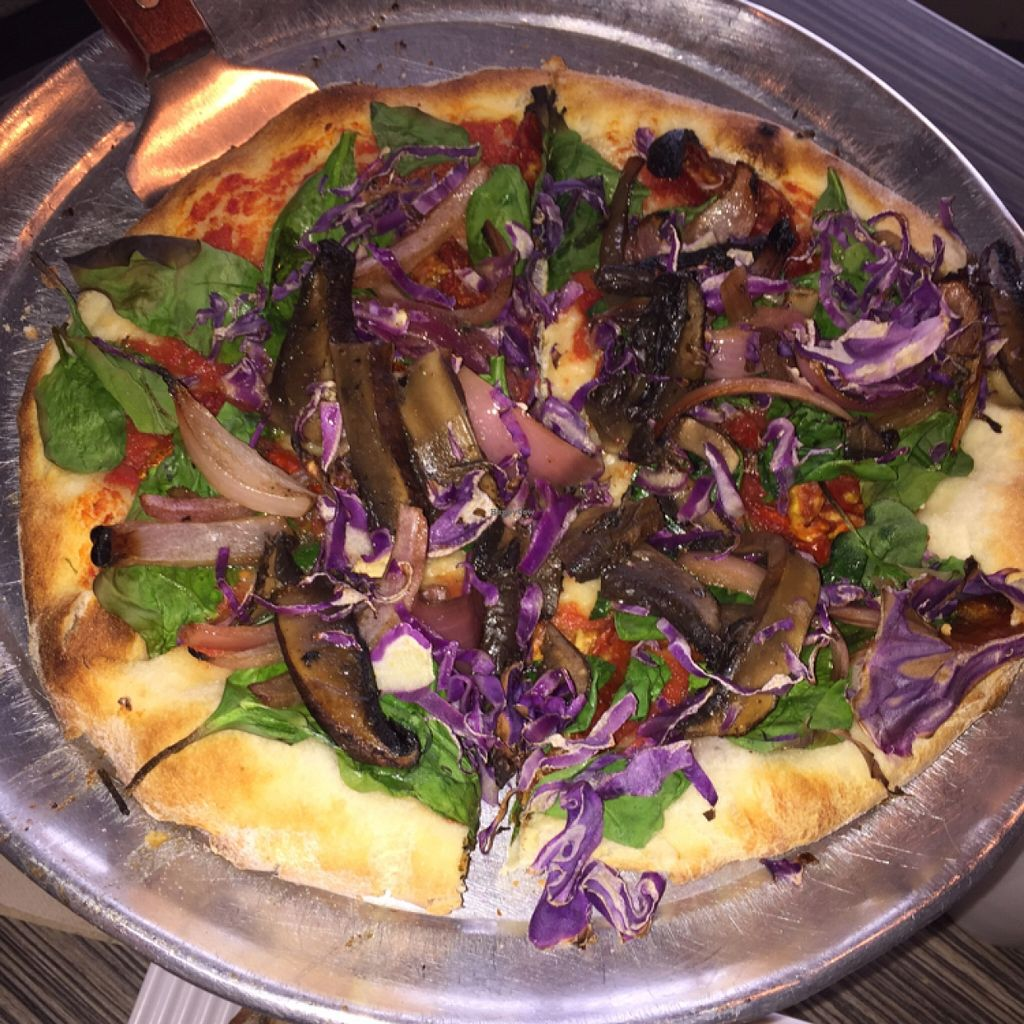 """Photo of Gourmet Pizza Company  by <a href=""""/members/profile/EatMorPlants"""">EatMorPlants</a> <br/>The 'cheeseless vegan' pizza <br/> January 1, 2016  - <a href='/contact/abuse/image/8076/130629'>Report</a>"""