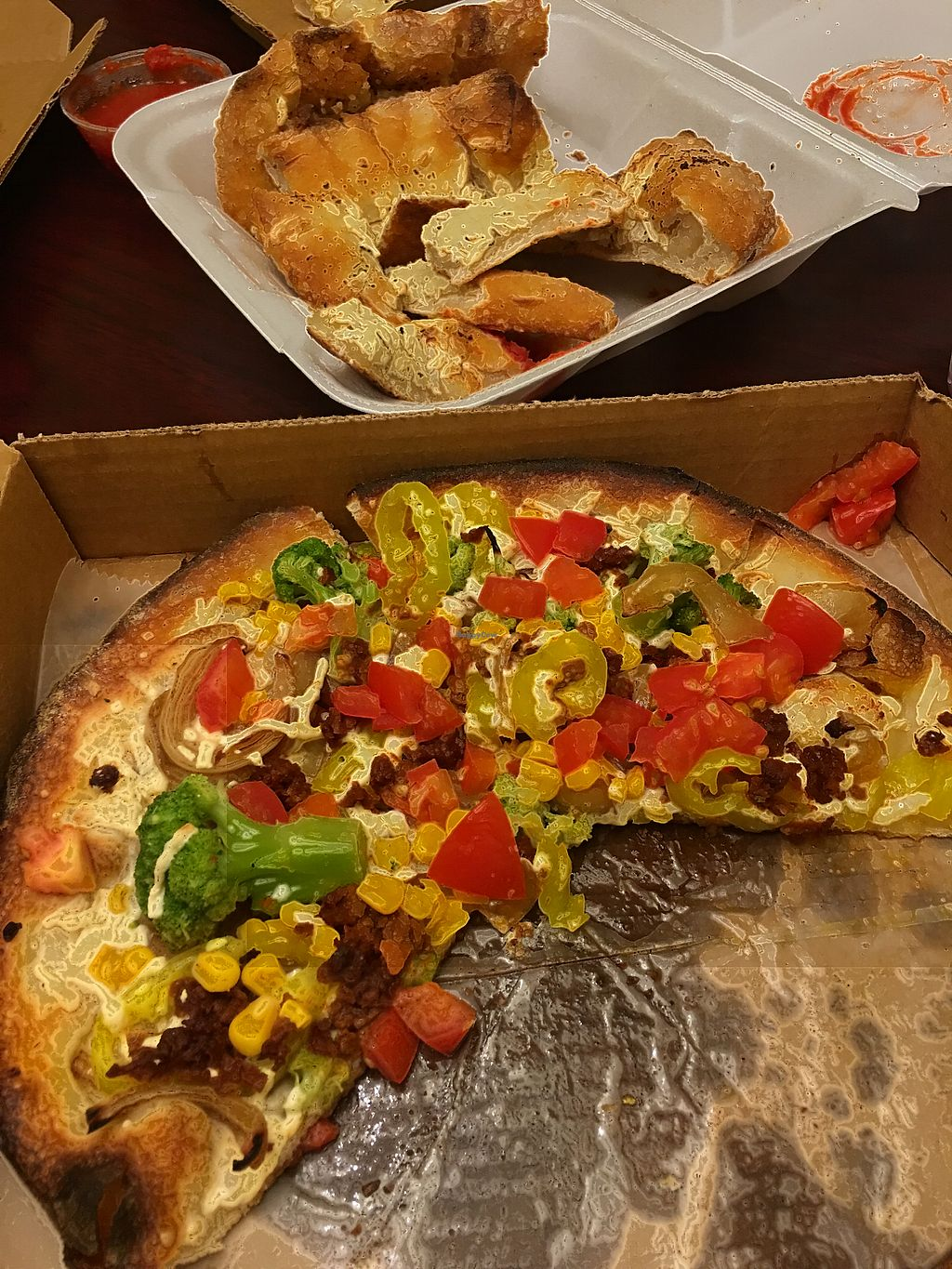 """Photo of Gourmet Pizza Company  by <a href=""""/members/profile/ShanayshaEvans"""">ShanayshaEvans</a> <br/>Huli Vegan, corn and broccoli added <br/> October 10, 2017  - <a href='/contact/abuse/image/8076/313798'>Report</a>"""