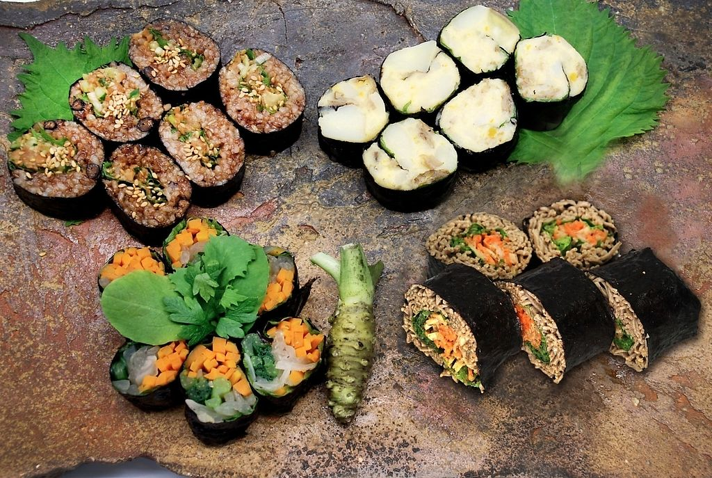 """Photo of Hiryu  by <a href=""""/members/profile/Dr.IRONMAN_KEN"""">Dr.IRONMAN_KEN</a> <br/>[Organic Super Vegan Vege-Sushi] Organic Super Vegan Restaurant Hiryu has following vegan sushi menu. 1. Organic vegetable sushi (include carrot, spinach, onion) 2. Germinated brown rice sushi-roll 3. Juwari Soba* sushi (*Juwari soba is made from 100% buckwheat flour)  4. Potato salad roll  All the ingredients are free from pesticide, fertilizer or chemical fertilizer, plant growth regulator, post harvest, chemical preservative, meat, seafood, egg, dairy product, honey, gelatin, gluten, synthetic seasoning, refined salt/sugar in the restaurant. And of course they are non-GMO.  It's prohibited to smoke in the restaurant.   Hiryu restaurant has various kind of food menu for vegan people and those who are concerning about health issue and the environment on Earth <br/> November 23, 2016  - <a href='/contact/abuse/image/80773/193397'>Report</a>"""