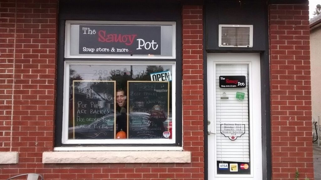 """Photo of Saucy Pot Soup Store  by <a href=""""/members/profile/Pat52000"""">Pat52000</a> <br/>Tyler peeking out <br/> October 12, 2016  - <a href='/contact/abuse/image/80791/181624'>Report</a>"""