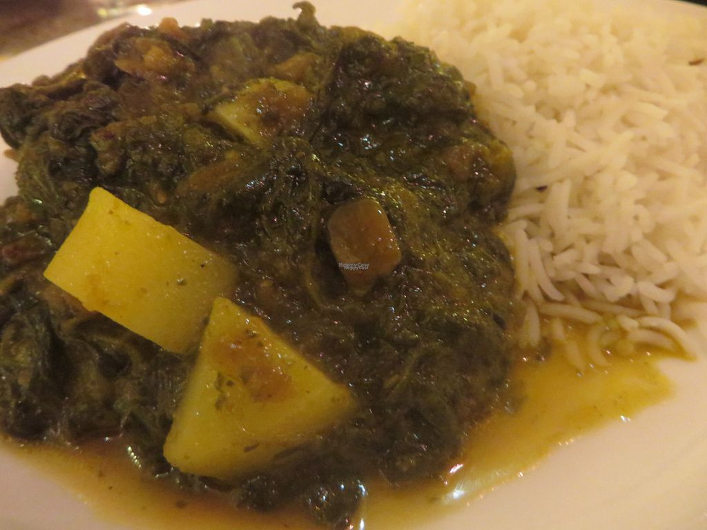 """Photo of Star of India  by <a href=""""/members/profile/VegiAnna"""">VegiAnna</a> <br/>no. 31 saag paneer (spinach, freshly ground spices, basmati rice - vegan version without cream cheese and cheese) <br/> October 11, 2016  - <a href='/contact/abuse/image/80805/181513'>Report</a>"""