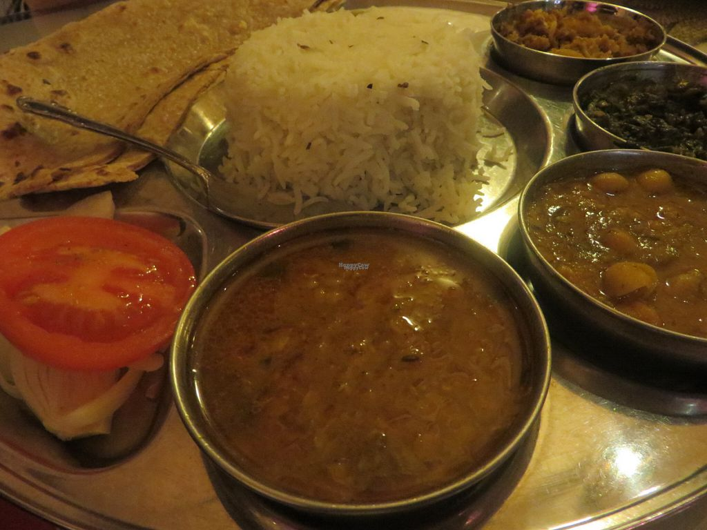 """Photo of Star of India  by <a href=""""/members/profile/VegiAnna"""">VegiAnna</a> <br/>no. 36 vegetarian thali (four kinds of vegetarian curries: cauliflower, potatoes, dal (lentils,) saag (spinach,) channa (chickpeas,) tomatoes, onions, basmati rice, without raeta (spiced yoghurt) and with chapati instead of naan (flatbread)) (vegan) <br/> October 12, 2016  - <a href='/contact/abuse/image/80805/181556'>Report</a>"""