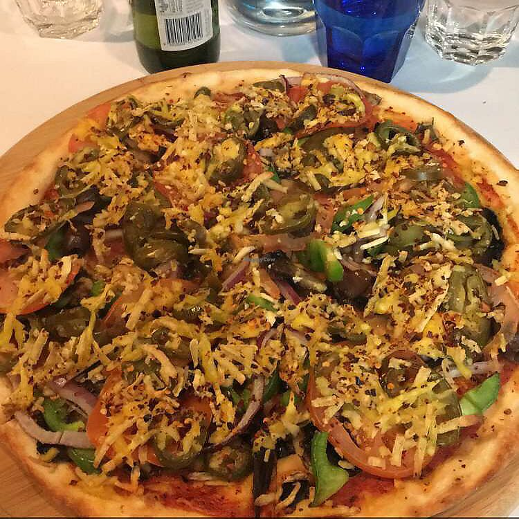 """Photo of Allambie Pizza Shop  by <a href=""""/members/profile/Vegan88"""">Vegan88</a> <br/>vegetarian pizza with vegan cheese and chilli <br/> August 20, 2017  - <a href='/contact/abuse/image/80814/294696'>Report</a>"""