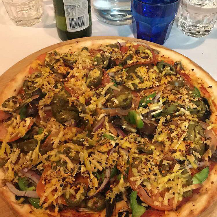 """Photo of Allambie Pizza Shop  by <a href=""""/members/profile/Vegan88"""">Vegan88</a> <br/>vego pizza with vegan cheese and chilli  <br/> August 20, 2017  - <a href='/contact/abuse/image/80814/294699'>Report</a>"""