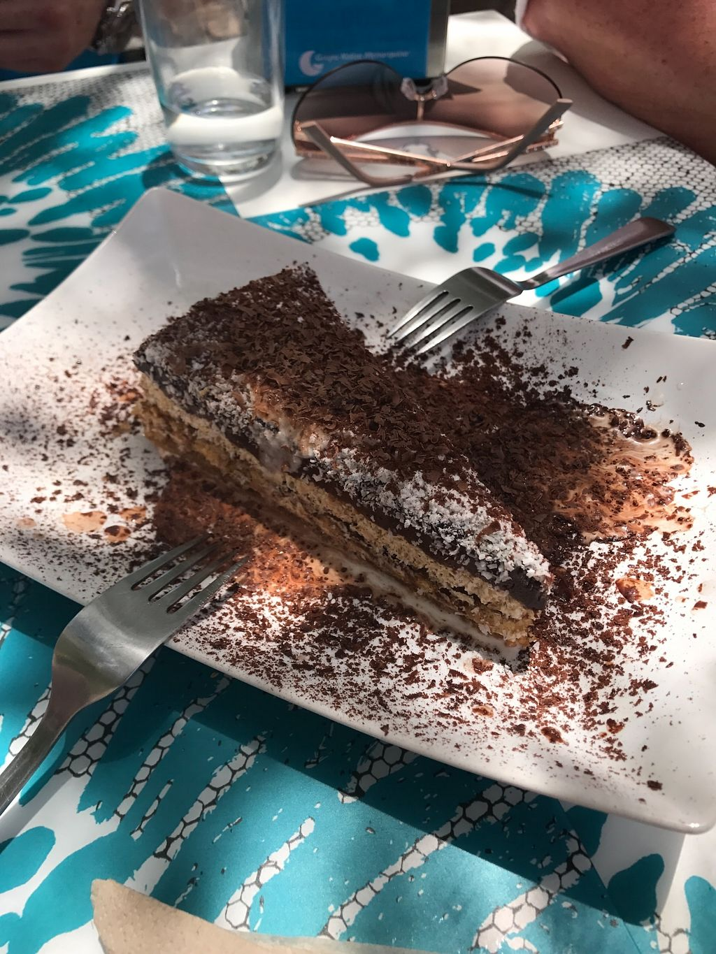 "Photo of Delicias y Namaste  by <a href=""/members/profile/EllisS"">EllisS</a> <br/>Layered chocolate cream, biscuit, cream and coconut cake. Really really nice and rich <br/> July 30, 2017  - <a href='/contact/abuse/image/80824/286585'>Report</a>"