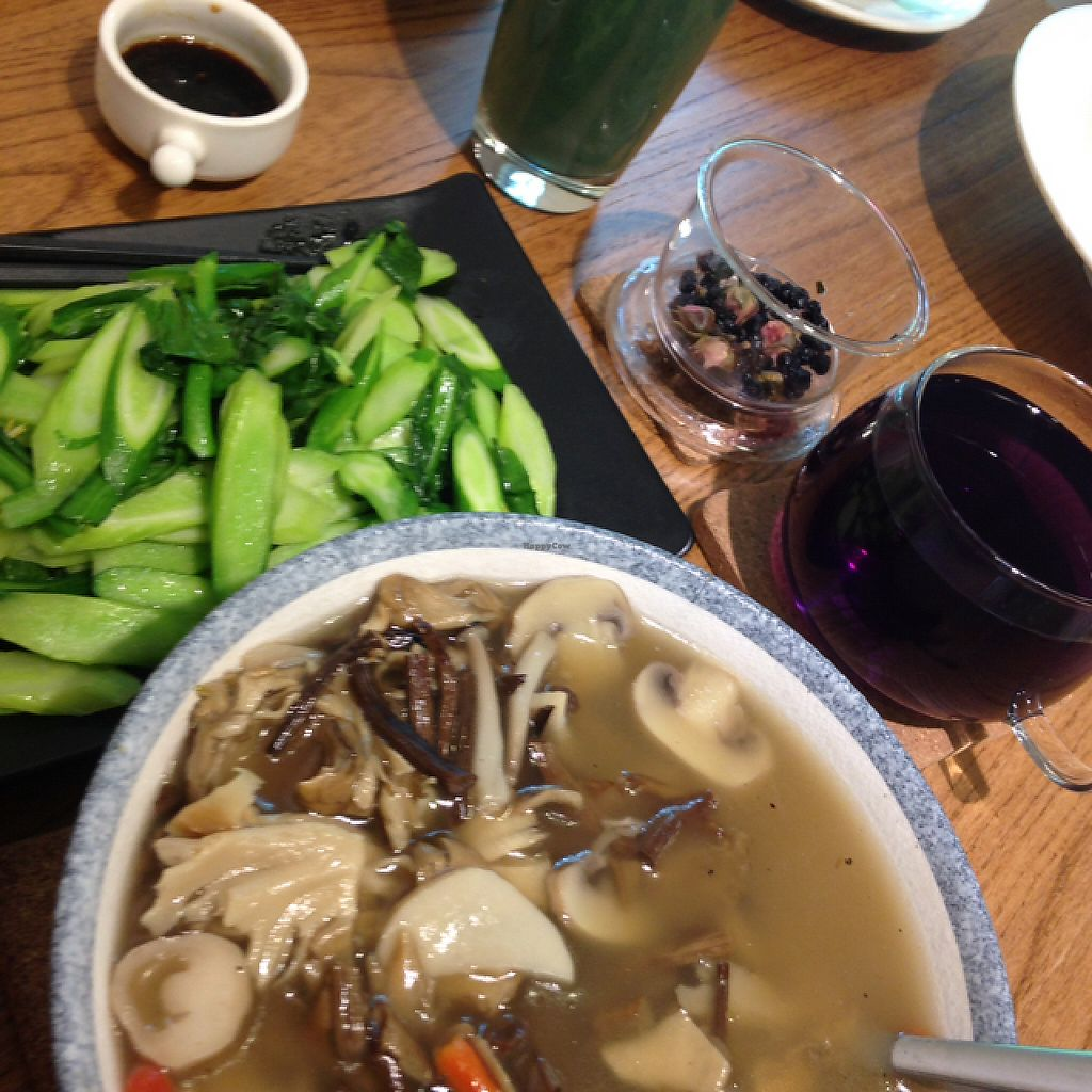 "Photo of If Vegan  by <a href=""/members/profile/Cadec"">Cadec</a> <br/>Mushroom soup, steamed veg, tea and Spriulina Smoothie! <br/> May 1, 2017  - <a href='/contact/abuse/image/80831/254423'>Report</a>"