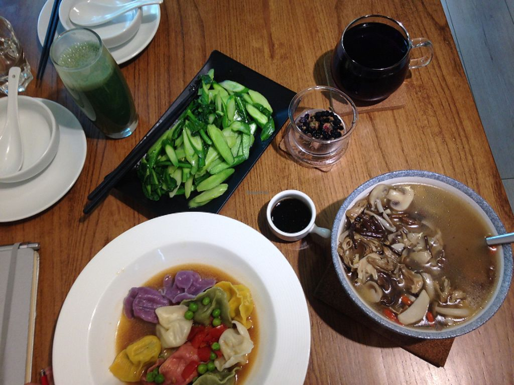 "Photo of If Vegan  by <a href=""/members/profile/Cadec"">Cadec</a> <br/>Steamed gyoza, mushroom soup, berry tea, Spriulina and Coconut smoothie! <br/> May 1, 2017  - <a href='/contact/abuse/image/80831/254425'>Report</a>"
