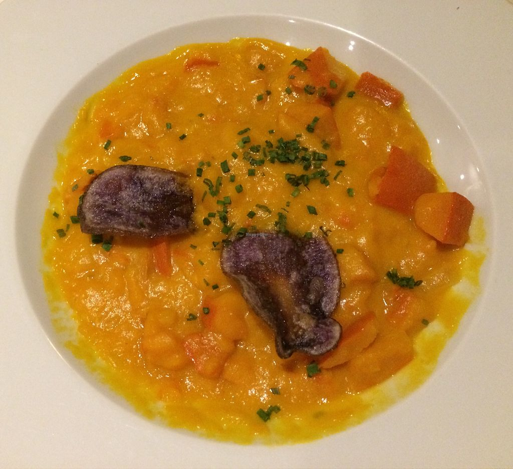 "Photo of Mohringer Hexle  by <a href=""/members/profile/Carissima"">Carissima</a> <br/>Pumpkin curry with rice, garnished with purple potato chips <br/> November 5, 2017  - <a href='/contact/abuse/image/80892/322128'>Report</a>"