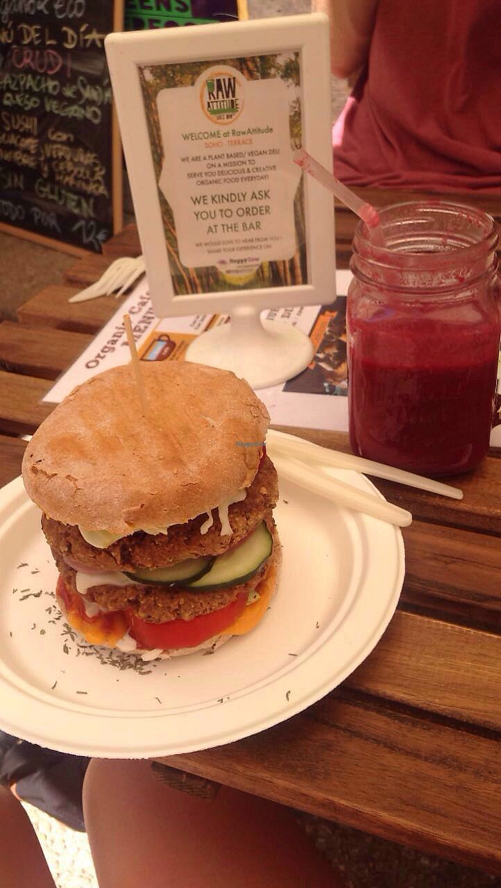 "Photo of RawAttitude  by <a href=""/members/profile/MollySonger"">MollySonger</a> <br/>veggie burger with beet juice! <br/> July 20, 2017  - <a href='/contact/abuse/image/80893/282540'>Report</a>"