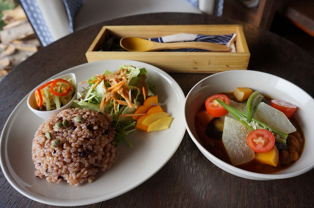 """Photo of Manaina Vege Cafe and Gallery  by <a href=""""/members/profile/Tomomi13"""">Tomomi13</a> <br/>vegan curry lunch set <br/> April 3, 2018  - <a href='/contact/abuse/image/80929/380059'>Report</a>"""