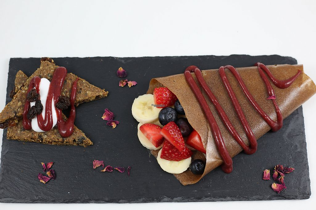 """Photo of CLOSED: Juice Garden - Renfield St  by <a href=""""/members/profile/Mannypanther"""">Mannypanther</a> <br/>Raw Banana Crepe with raw raisin bread and Coyo <br/> December 4, 2016  - <a href='/contact/abuse/image/80955/197329'>Report</a>"""