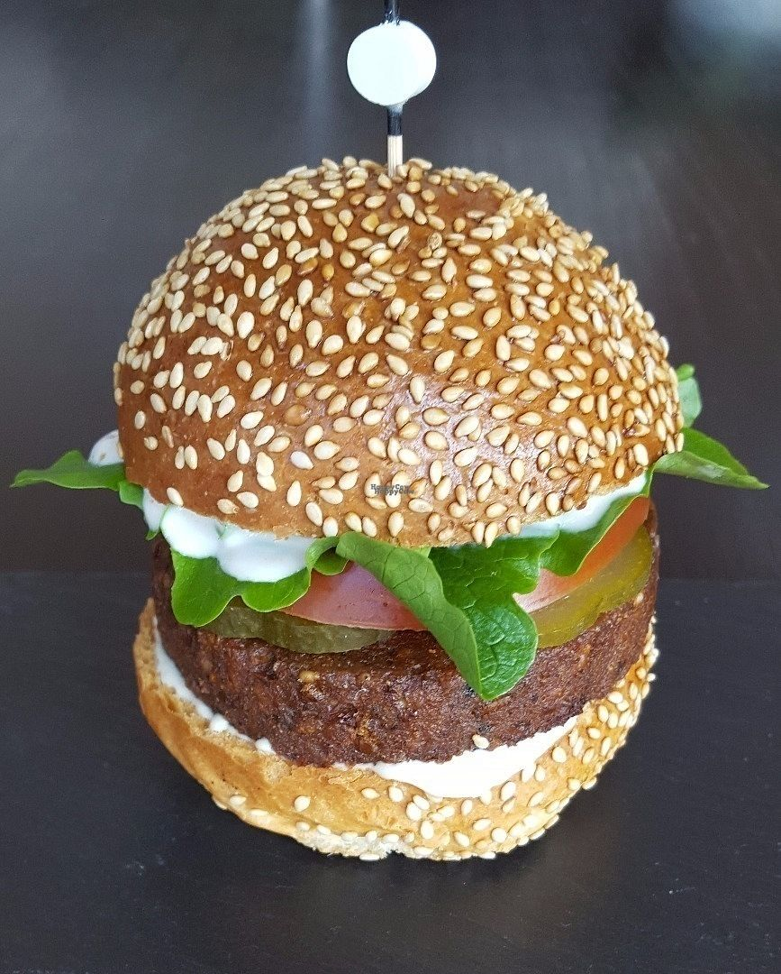 """Photo of Yumm'eat  by <a href=""""/members/profile/MARYAS1202"""">MARYAS1202</a> <br/>Our vegan burger is a HIT ! It is 100% natural, gluten- & lactose free, & free of any additives :-) <br/> October 4, 2016  - <a href='/contact/abuse/image/80958/179620'>Report</a>"""