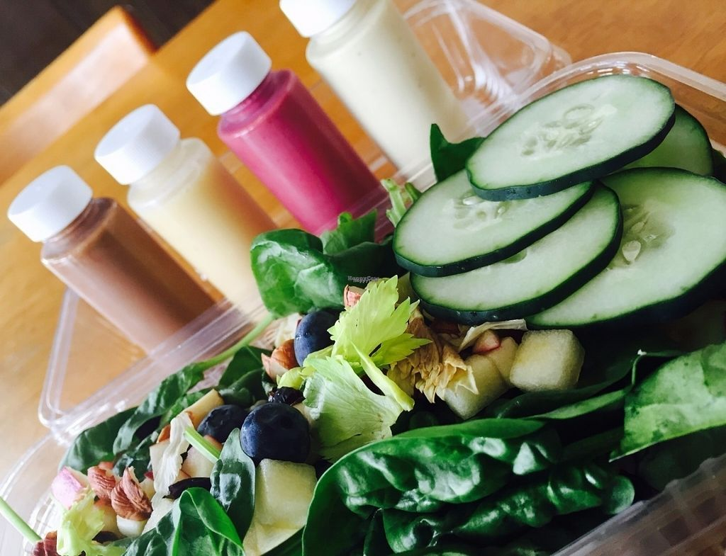 """Photo of CLOSED: The Green Heart Wellness Center  by <a href=""""/members/profile/RePhil"""">RePhil</a> <br/>Salad and options of dressings <br/> October 10, 2016  - <a href='/contact/abuse/image/81015/181172'>Report</a>"""
