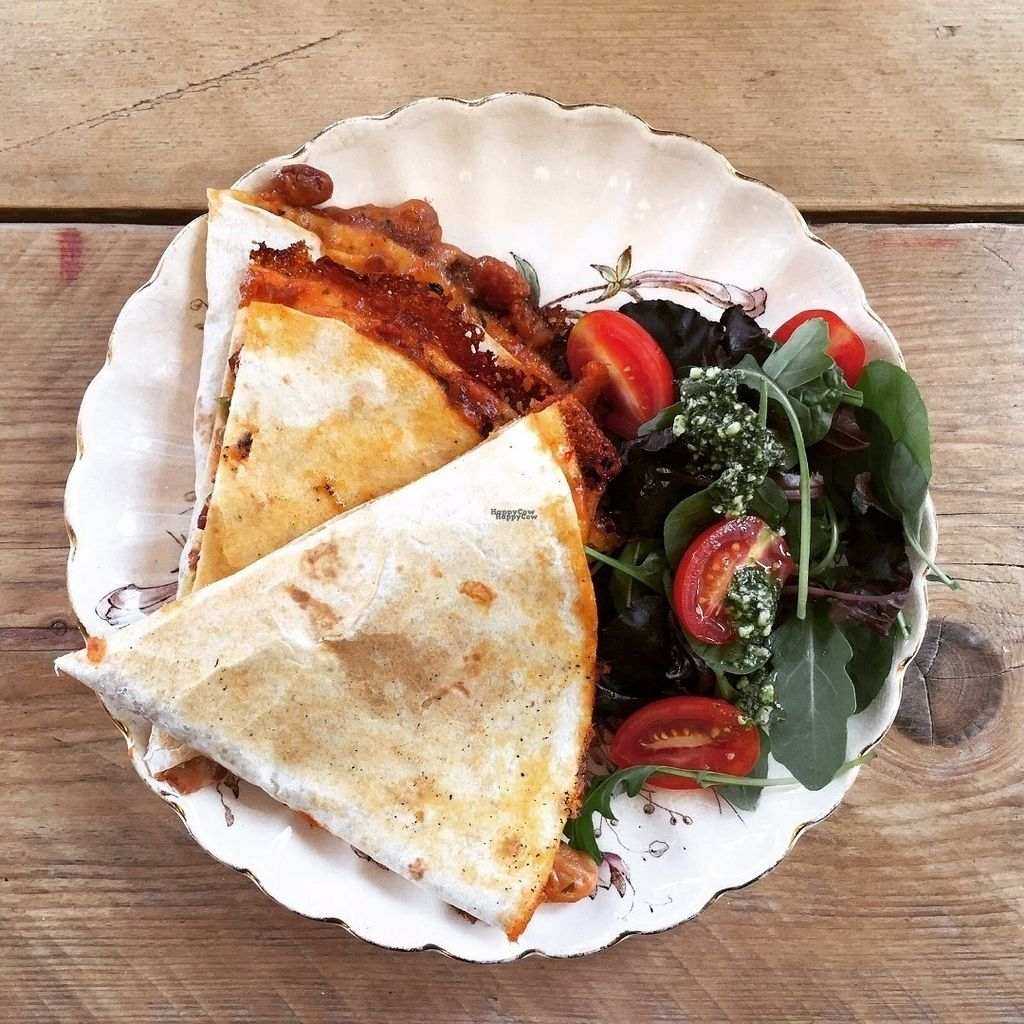 """Photo of That There Deli  by <a href=""""/members/profile/ThatThereDeli"""">ThatThereDeli</a> <br/>Spicy bean, jalapeño & Mexicana cheese quesadilla £3.60 <br/> October 6, 2016  - <a href='/contact/abuse/image/81019/180080'>Report</a>"""