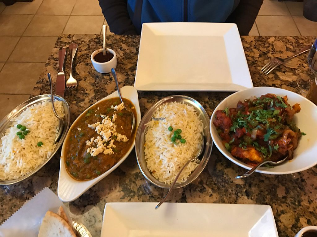 """Photo of Aroma  by <a href=""""/members/profile/Thespicyvegan"""">Thespicyvegan</a> <br/>mutter paneer gobhi Manchuria basmati rice  naan  <br/> January 6, 2017  - <a href='/contact/abuse/image/81087/208525'>Report</a>"""