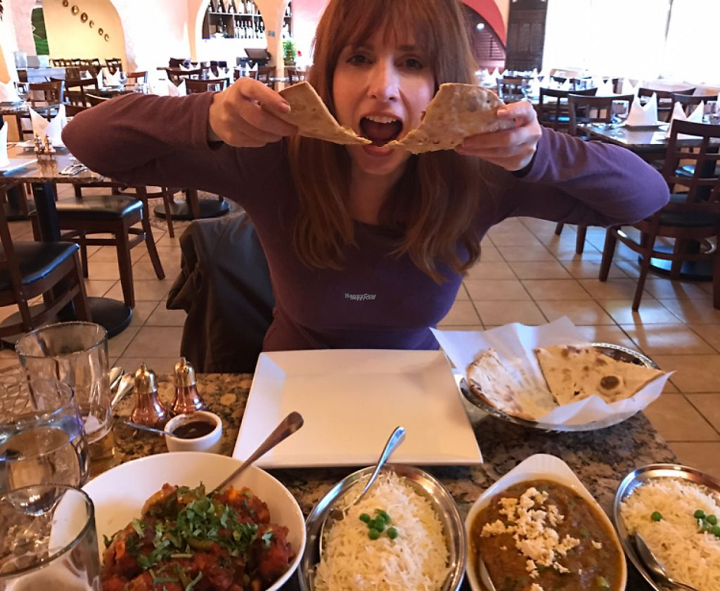"""Photo of Aroma  by <a href=""""/members/profile/Thespicyvegan"""">Thespicyvegan</a> <br/>me getting my naan on  <br/> January 6, 2017  - <a href='/contact/abuse/image/81087/208526'>Report</a>"""