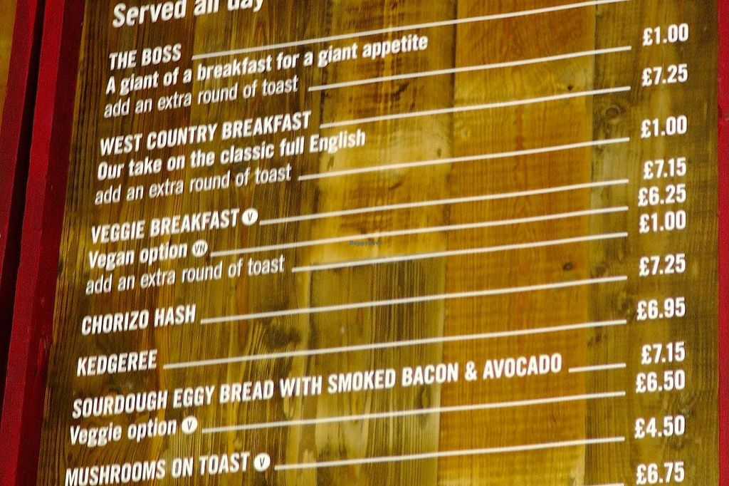 """Photo of Boston Tea Party  by <a href=""""/members/profile/trinitybourne"""">trinitybourne</a> <br/>Menu clearly showing what's vegan - not loads of options but nice that they list options <br/> July 8, 2014  - <a href='/contact/abuse/image/8108/73479'>Report</a>"""