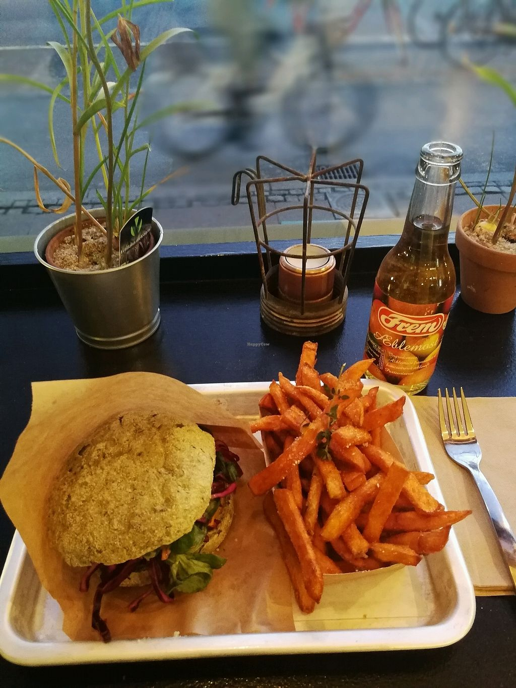 """Photo of GreenBurger - Frederiksborggade  by <a href=""""/members/profile/MonicaGomes"""">MonicaGomes</a> <br/>classic burger with sweet potato fries  <br/> February 23, 2018  - <a href='/contact/abuse/image/81101/362693'>Report</a>"""