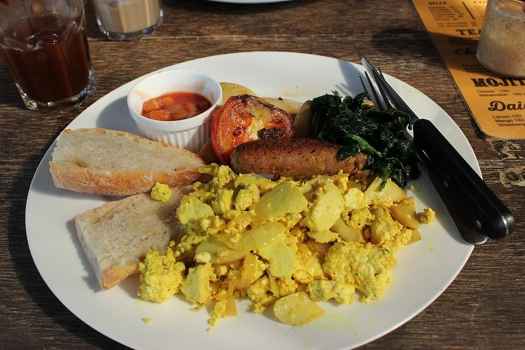 """Photo of Cafe Culture  by <a href=""""/members/profile/poweredbytofu"""">poweredbytofu</a> <br/>Tofu scramble, sauteed greens ( a little salty, though), bread, baked beans, tomatoes, mushrooms and incredible homemade sausage!   <br/> February 15, 2017  - <a href='/contact/abuse/image/81149/226656'>Report</a>"""