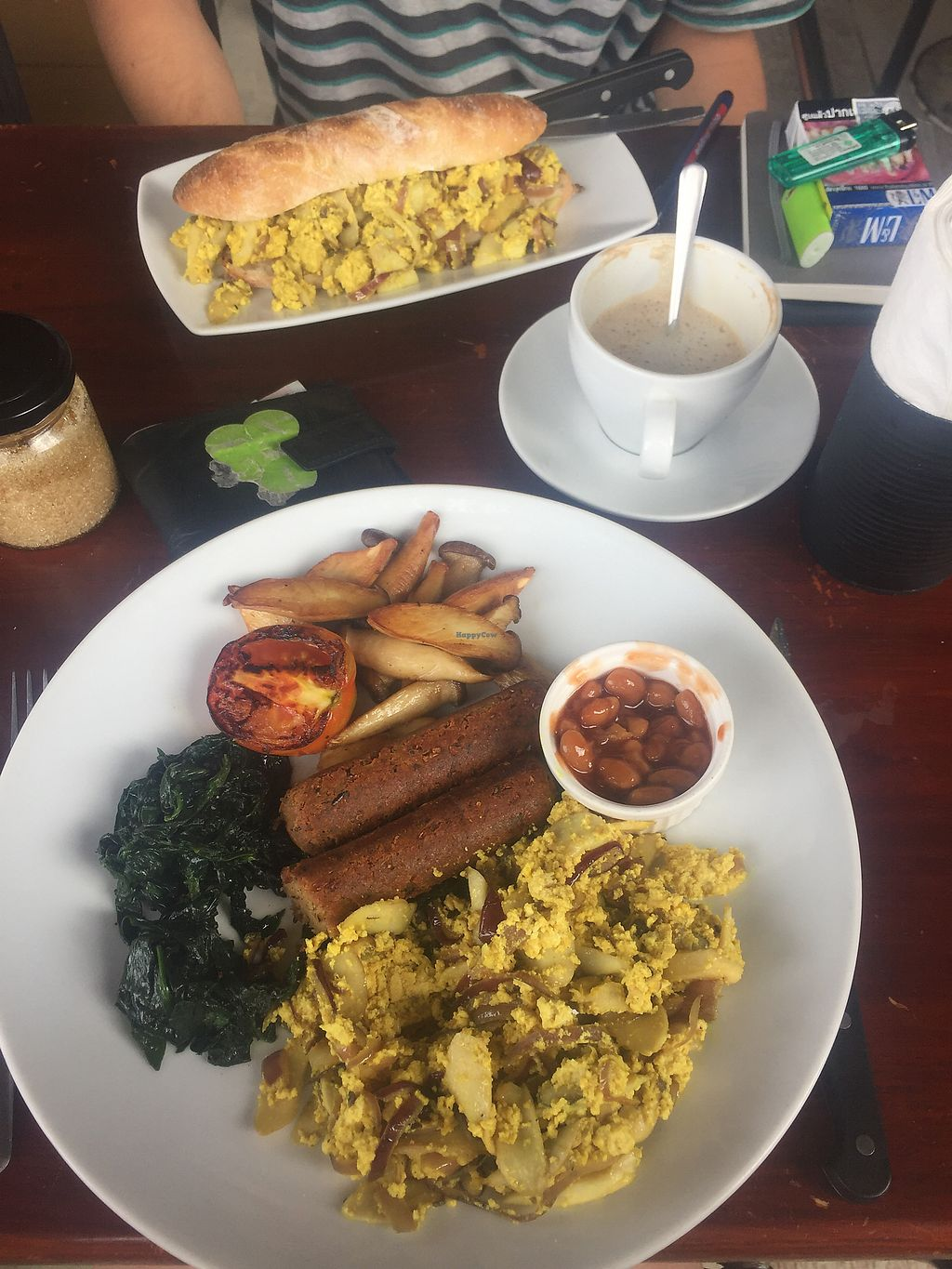"""Photo of Cafe Culture  by <a href=""""/members/profile/FionaPaine"""">FionaPaine</a> <br/>Veggie breakfast (no toast, extra sausage only about 25 baht) and tofu scramble sandwich  <br/> March 2, 2018  - <a href='/contact/abuse/image/81149/365668'>Report</a>"""