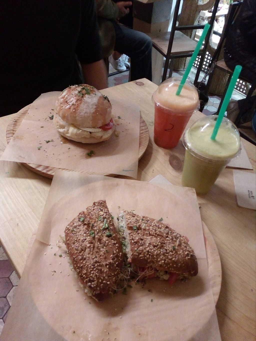 """Photo of La Huerta de Almeria - Calle Corredera  by <a href=""""/members/profile/wyrd"""">wyrd</a> <br/>Spanish sandwich (with white bread) and Vegan sandwich (with wholemeal flour bread) + two fruit smoothies <br/> May 2, 2017  - <a href='/contact/abuse/image/81172/254935'>Report</a>"""
