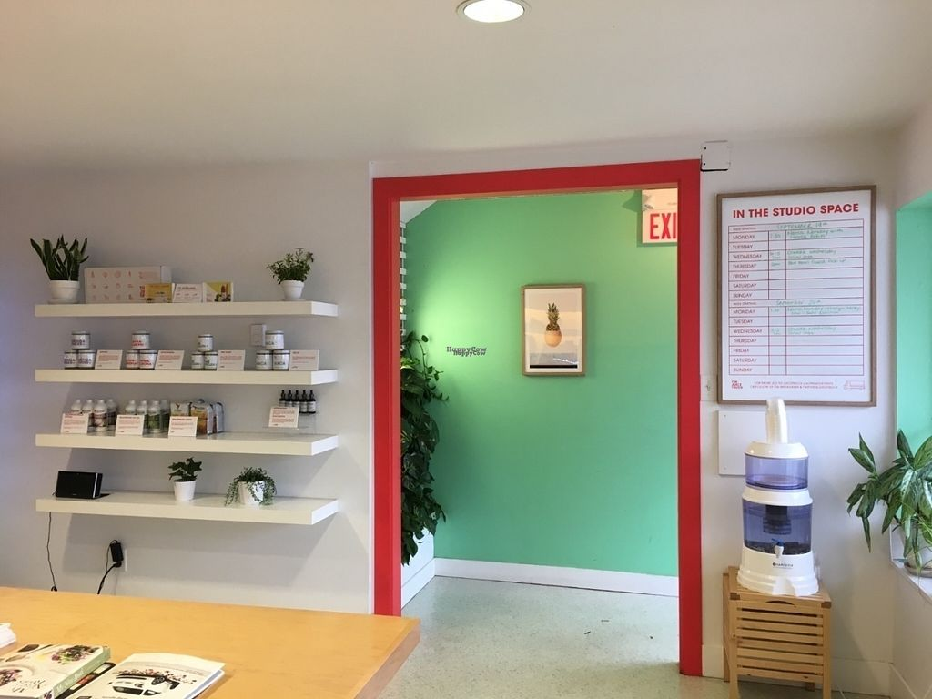 """Photo of The Juice Truck Cafe - Mount Pleasant  by <a href=""""/members/profile/vegan%20frog"""">vegan frog</a> <br/>Inside the cafe <br/> October 9, 2016  - <a href='/contact/abuse/image/81194/180882'>Report</a>"""