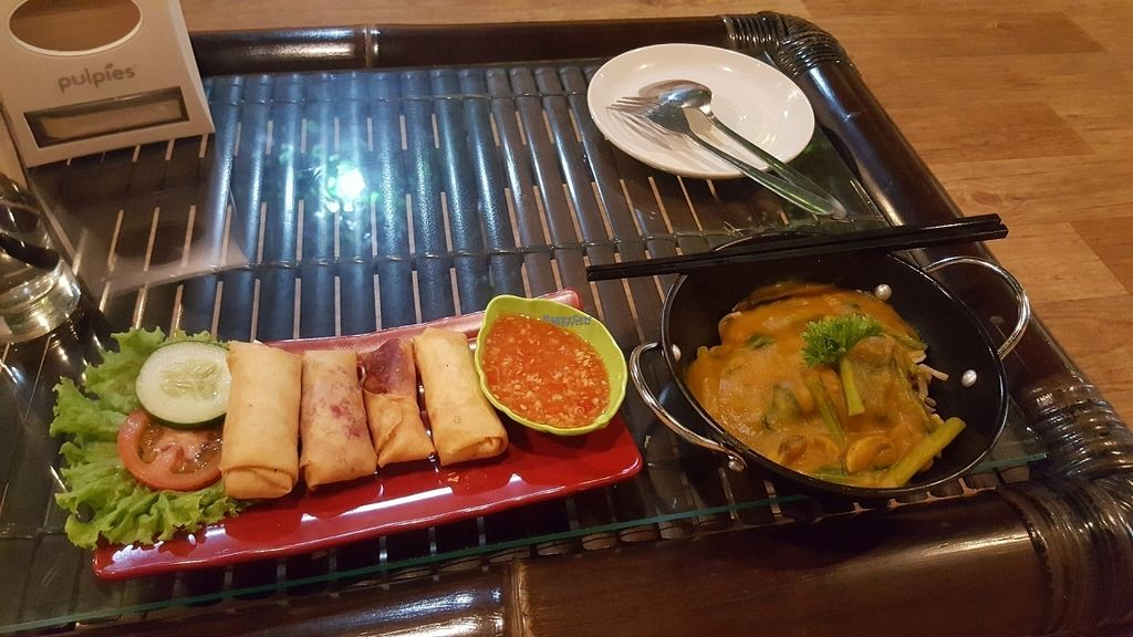 """Photo of Mai3 Cafegan  by <a href=""""/members/profile/purplevelvethorse"""">purplevelvethorse</a> <br/>Fruit spring rolls and pumpkin noodles <br/> November 6, 2016  - <a href='/contact/abuse/image/81251/186842'>Report</a>"""