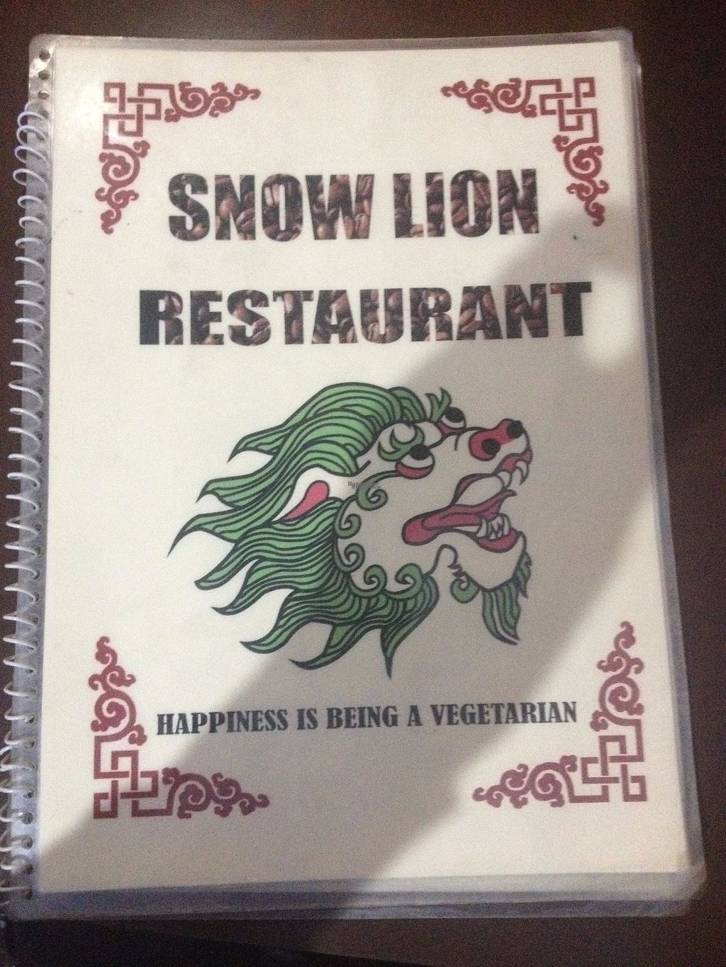 """Photo of Snow Lion Hotel & Veg Restaurant  by <a href=""""/members/profile/vegan_ryan"""">vegan_ryan</a> <br/>Menu cover <br/> October 10, 2016  - <a href='/contact/abuse/image/81272/181182'>Report</a>"""
