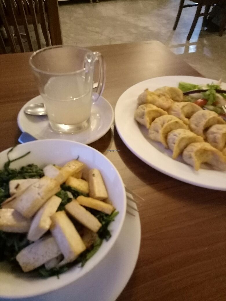 "Photo of Nick's Italian Kitchen  by <a href=""/members/profile/justinecactus"">justinecactus</a> <br/>spinach & tofu with momos and lemon ginger tea <br/> March 17, 2018  - <a href='/contact/abuse/image/81276/371631'>Report</a>"