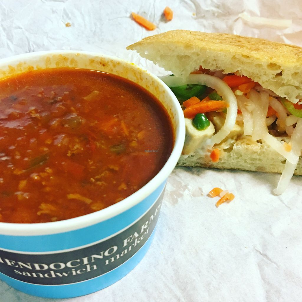 """Photo of Mendocino Farms  by <a href=""""/members/profile/MichelleBoozenny"""">MichelleBoozenny</a> <br/>vegan bahn mi and chili  <br/> May 31, 2017  - <a href='/contact/abuse/image/81282/264611'>Report</a>"""