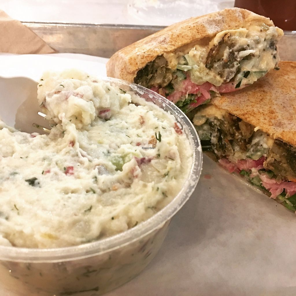 """Photo of Mendocino Farms  by <a href=""""/members/profile/MichelleBoozenny"""">MichelleBoozenny</a> <br/>falafel wrap and potato salad  <br/> May 31, 2017  - <a href='/contact/abuse/image/81282/264614'>Report</a>"""
