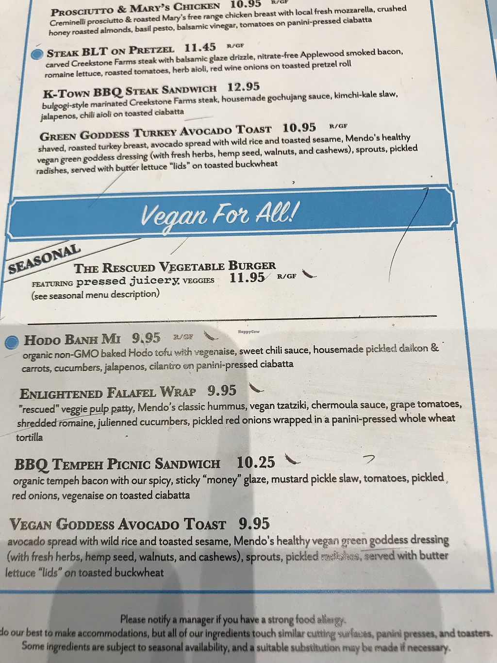 """Photo of Mendocino Farms  by <a href=""""/members/profile/Bex2017"""">Bex2017</a> <br/>Some of the vegan choices! They also have salads & soups! <br/> November 16, 2017  - <a href='/contact/abuse/image/81282/326273'>Report</a>"""