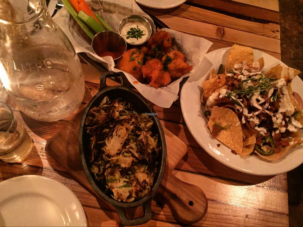 "Photo of The Beer Plant  by <a href=""/members/profile/Veganmeower"">Veganmeower</a> <br/>cauliflower wings, loaded nachos and shredded brussel sprouts  <br/> December 26, 2016  - <a href='/contact/abuse/image/81287/204850'>Report</a>"