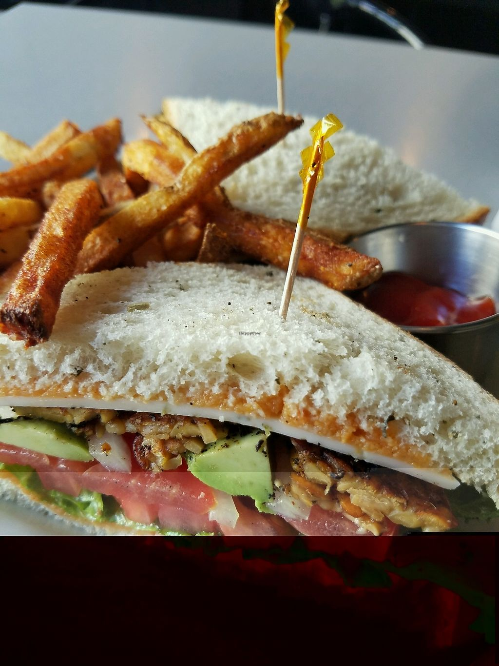 """Photo of Green House Cafe  by <a href=""""/members/profile/andreathinks"""">andreathinks</a> <br/>Spicy Tempeh Sandwich with Cajun Fries <br/> September 8, 2017  - <a href='/contact/abuse/image/81334/302201'>Report</a>"""