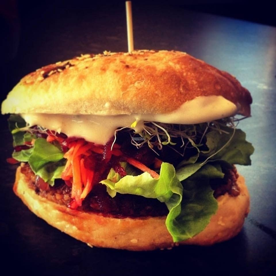 """Photo of V Burgers - Food Stall  by <a href=""""/members/profile/LeilaByrd"""">LeilaByrd</a> <br/>Vegan walnut lentil burger <br/> October 29, 2016  - <a href='/contact/abuse/image/81347/185042'>Report</a>"""