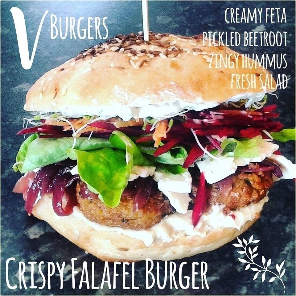 """Photo of V Burgers - Food Stall  by <a href=""""/members/profile/LeilaByrd"""">LeilaByrd</a> <br/>Crispy falafel burger <br/> October 29, 2016  - <a href='/contact/abuse/image/81347/185043'>Report</a>"""