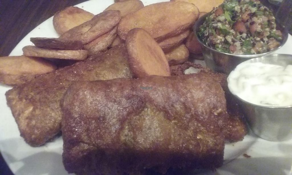 "Photo of Broadripple Brewpub  by <a href=""/members/profile/veggie_htx"">veggie_htx</a> <br/>Vegan fish (tofu) and chips. Vegan tartar sauce and quinoa taboulli <br/> August 24, 2016  - <a href='/contact/abuse/image/8137/171231'>Report</a>"