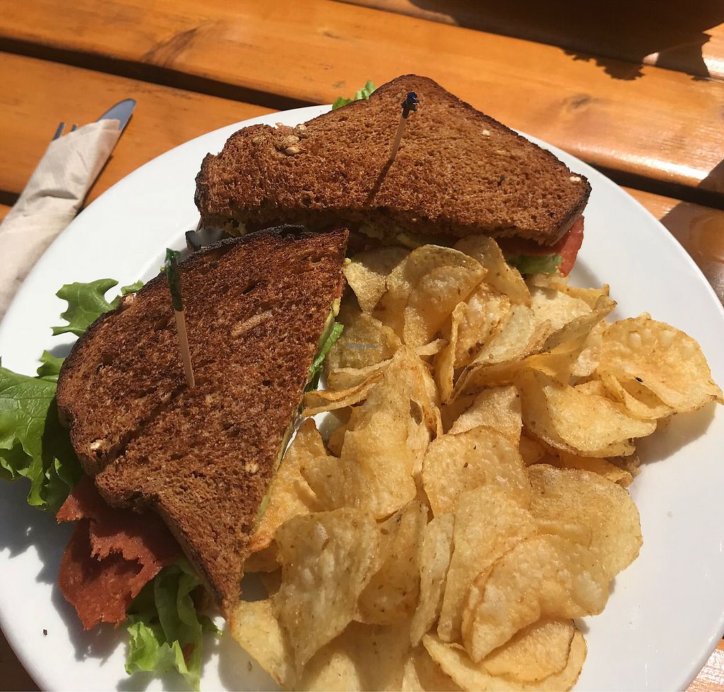"""Photo of Boundary Bay Brewery  by <a href=""""/members/profile/lucuma"""">lucuma</a> <br/>B.L.A.T with vegan coconut bacon, lettuce, avo and tomato. Side of potato chips <br/> May 12, 2018  - <a href='/contact/abuse/image/81391/398910'>Report</a>"""
