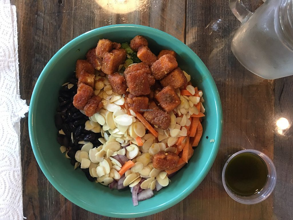 """Photo of Earth  by <a href=""""/members/profile/caitlincharl10"""">caitlincharl10</a> <br/>custom bowl: quinoa, tofu, almonds, black beans, carrots, onions, broccoli <br/> July 28, 2017  - <a href='/contact/abuse/image/81429/285727'>Report</a>"""