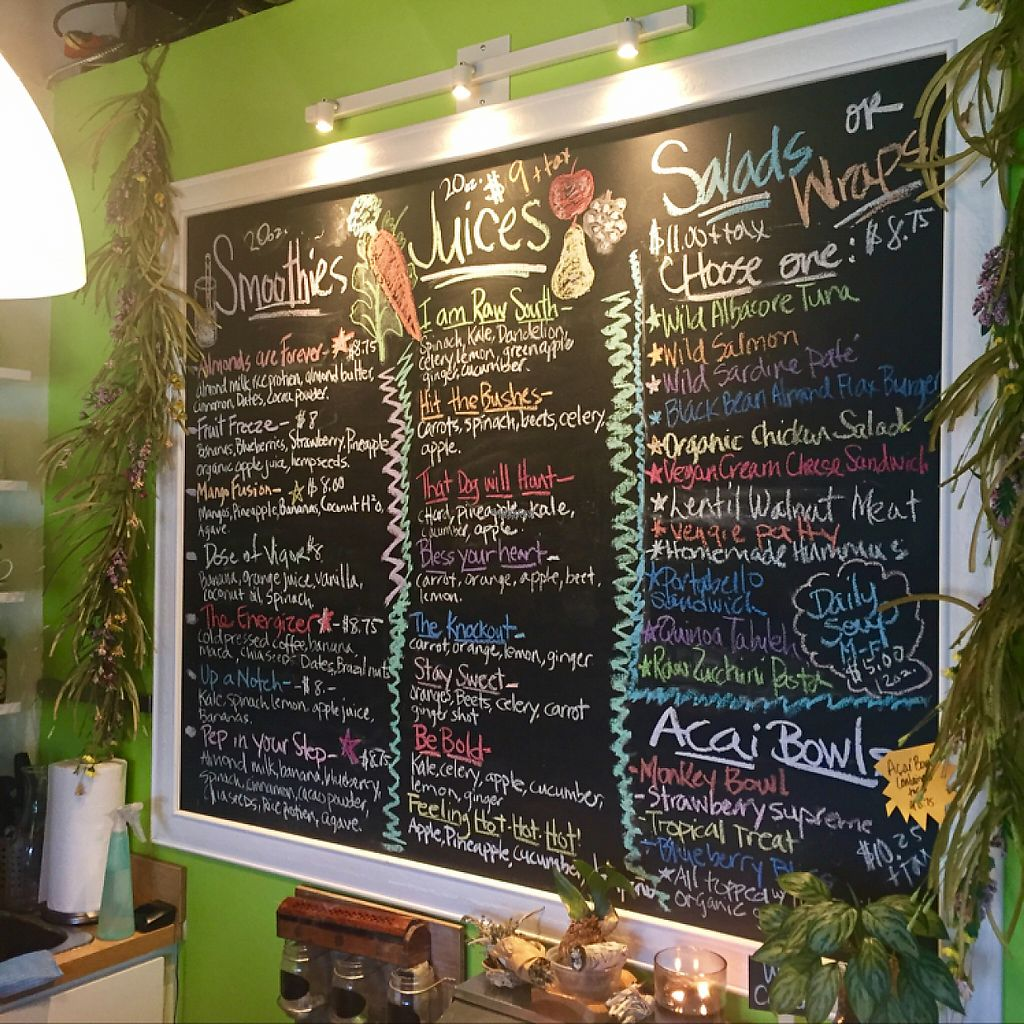 """Photo of Raw South Juice Co.  by <a href=""""/members/profile/Timanemone"""">Timanemone</a> <br/>Delicious menu.  <br/> December 3, 2016  - <a href='/contact/abuse/image/81455/196962'>Report</a>"""
