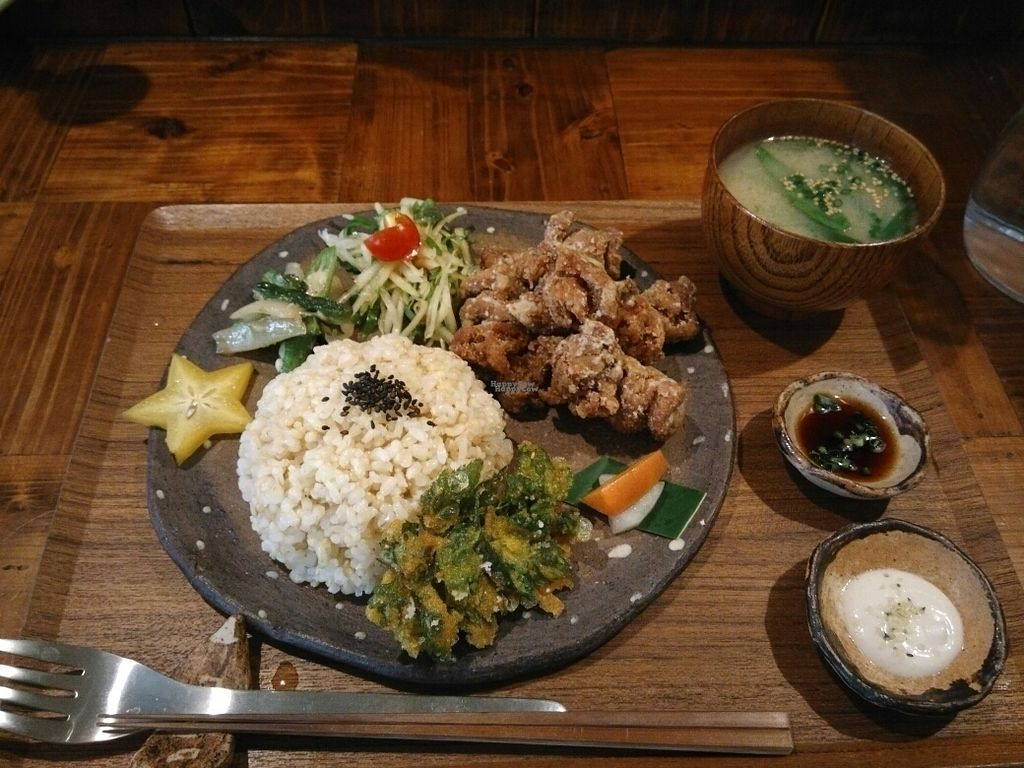 "Photo of Mana  by <a href=""/members/profile/thies"">thies</a> <br/>Japanese fried vege chicken plate with miso soup <br/> October 23, 2016  - <a href='/contact/abuse/image/81469/183797'>Report</a>"