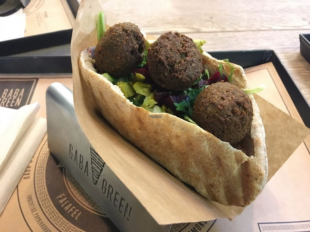 "Photo of Baba Green  by <a href=""/members/profile/Tobias%20Boletaria"">Tobias Boletaria</a> <br/>Vegan falafel pita with hummus and grilled vegetables <br/> October 16, 2016  - <a href='/contact/abuse/image/81499/182378'>Report</a>"